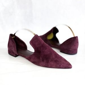 VINCE Burgundy Suede Simple Pointed Toe D'Orsay Flats Size 6